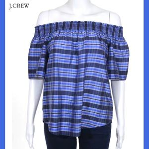 J CREW Blue/Gray Plaid Off-Shoulder Silk Blouse